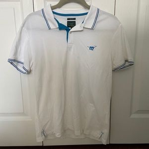 White polo with blue stripe detail